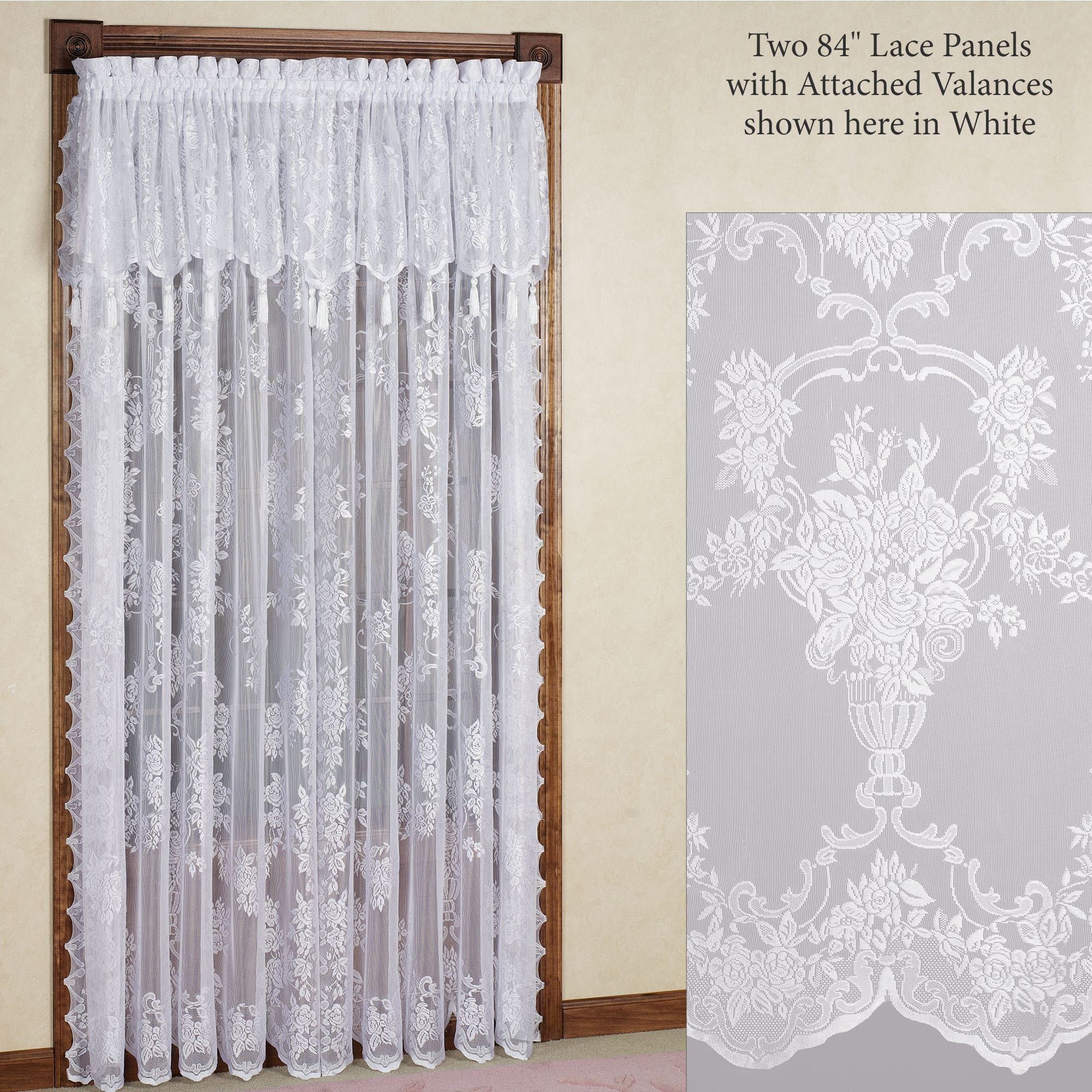 104 Inch Curtains Easy Style Carly Lace Curtain Panel With Attached Valance