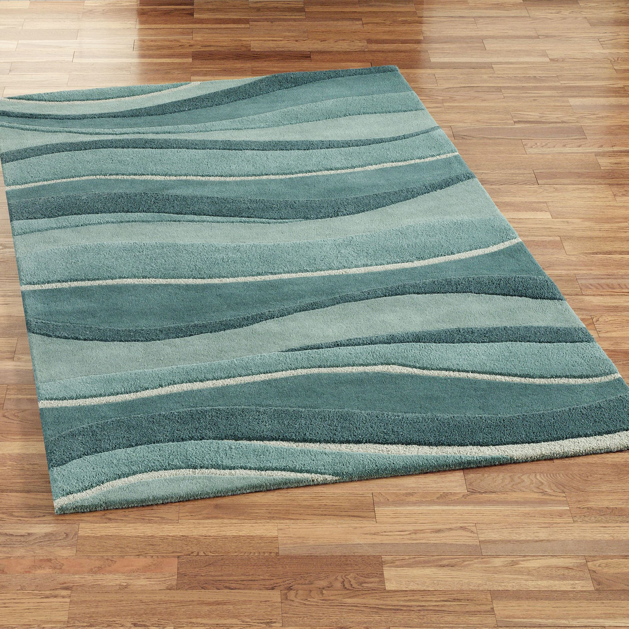 Teal Color Area Rugs Ocean Landscapes Wool Area Rugs