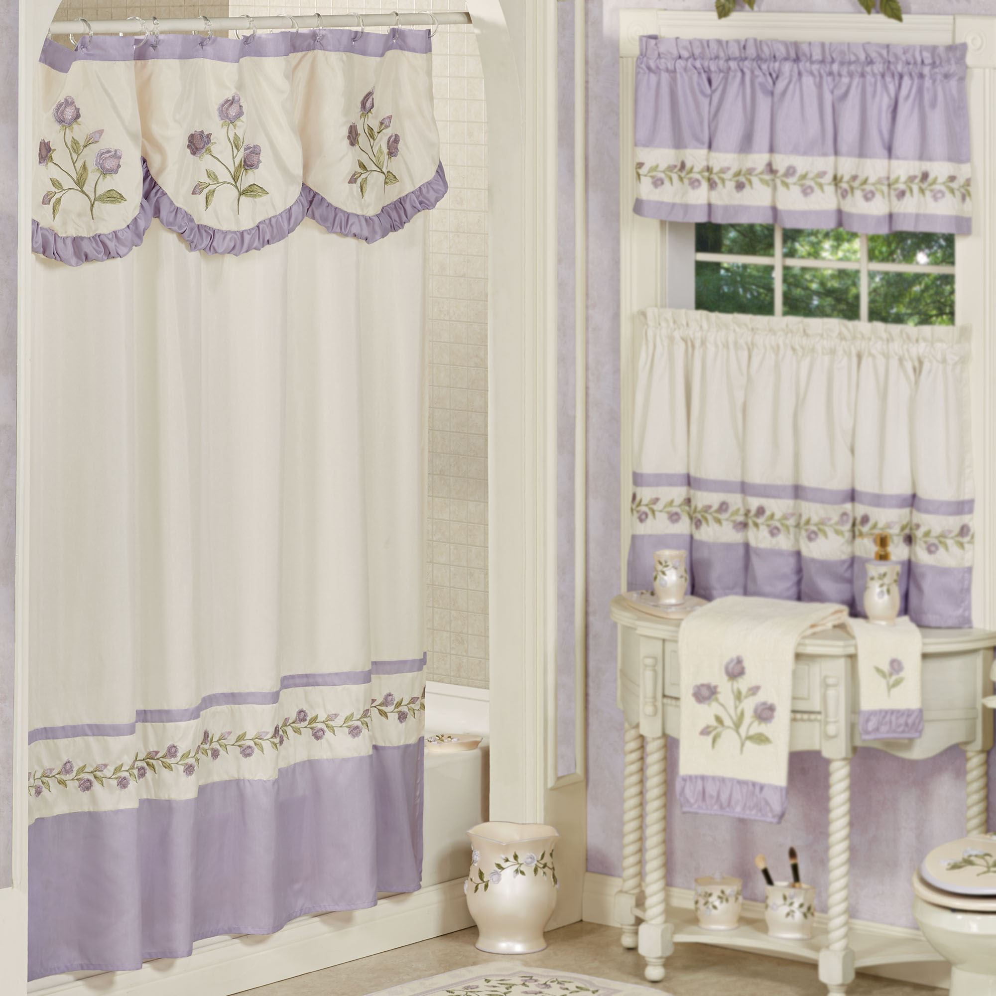 Lavender Shower Curtains Lavender Rose Embroidered Floral Shower Curtain And Accessories