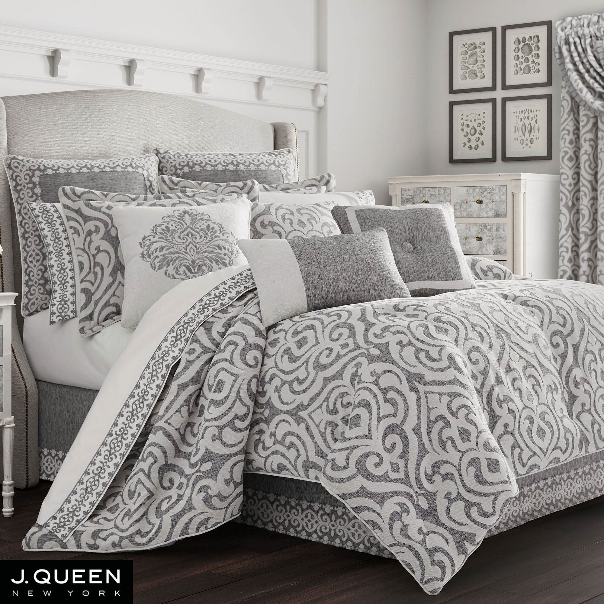 Damask Duvet Pierce Light Silver Gray And Dark Gray Damask Comforter Bedding By J Queen New York