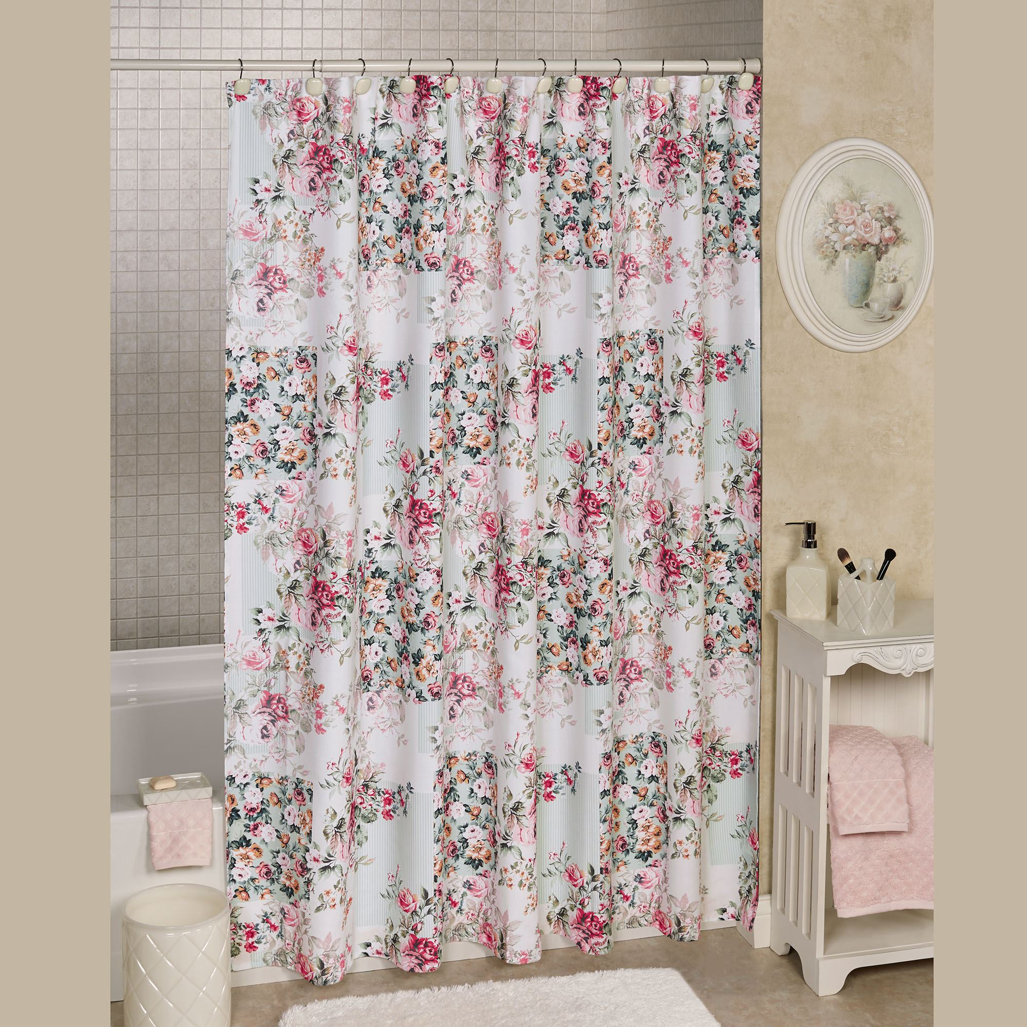 Cottage Shower Curtain Cottage Roses Floral Shower Curtain