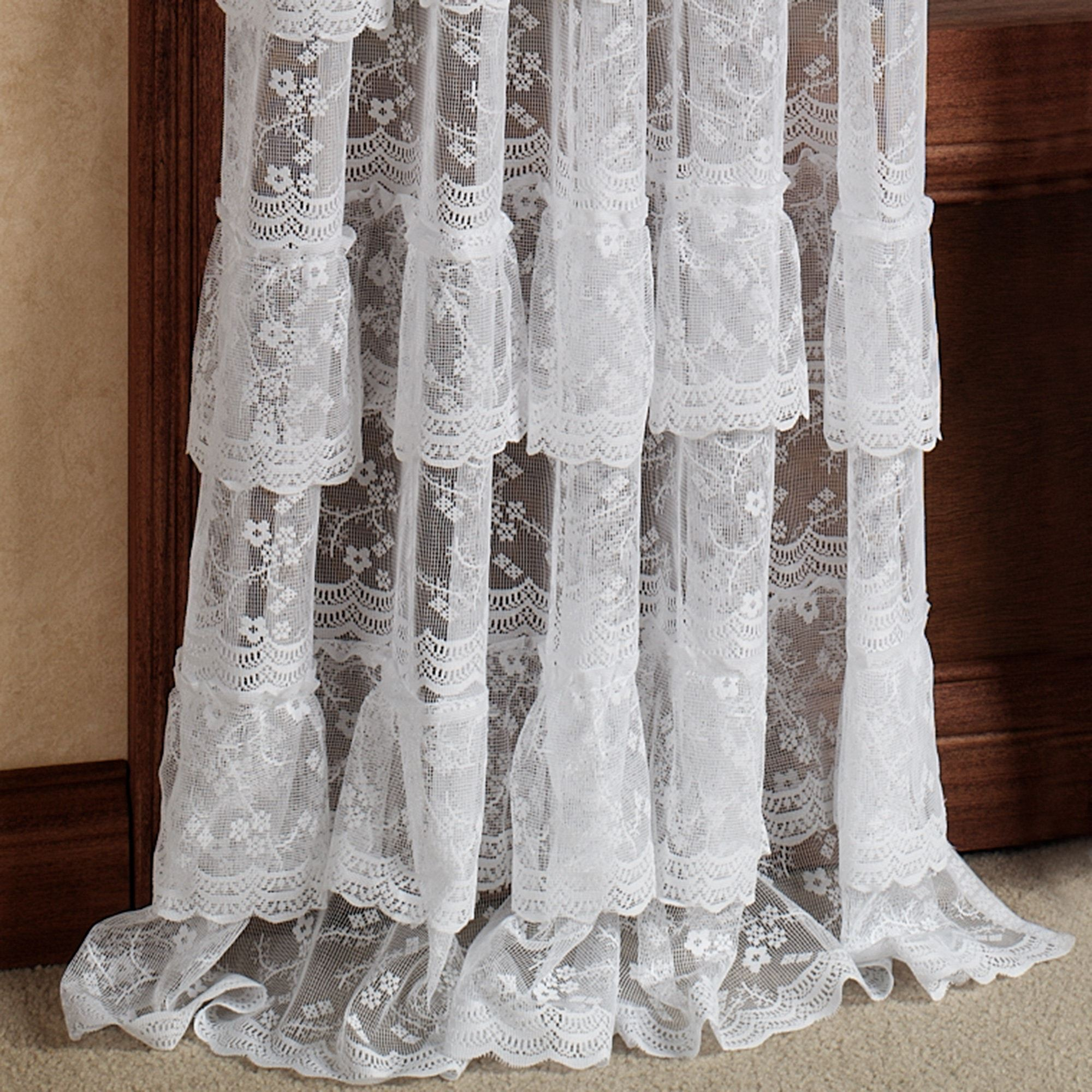 Ruffle Curtain Panel Bridal Lace Layered Ruffled Curtain Panel