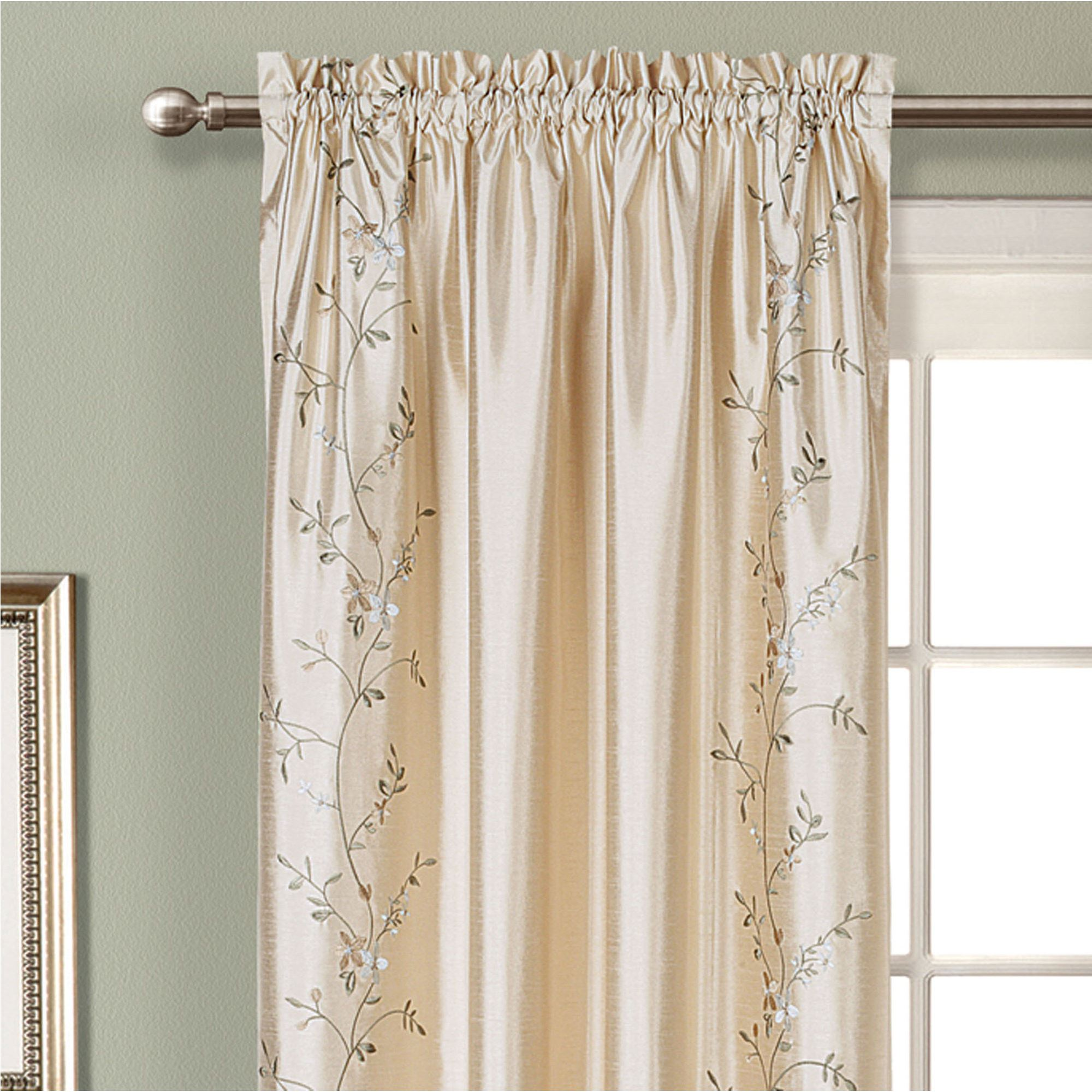 Faux Silk Curtains Addison Embroidered Floral Faux Silk Window Treatment
