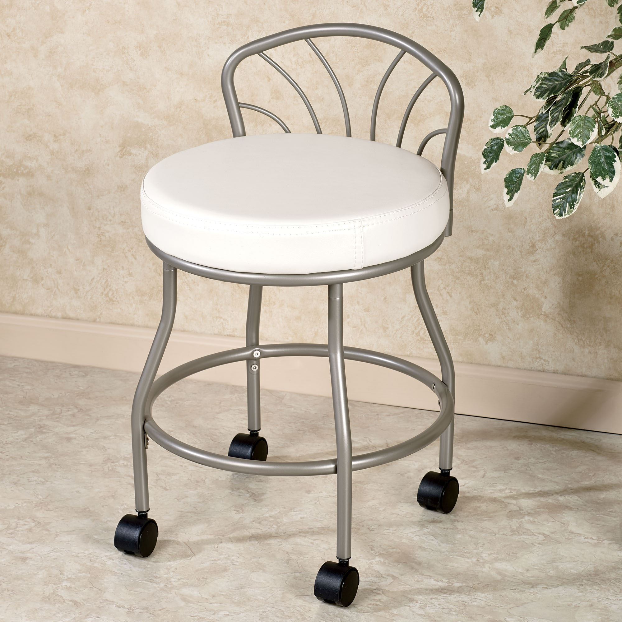 Comfortable Vanity Chair Flare Back Powder Coat Nickel Finish Vanity Chair With Casters