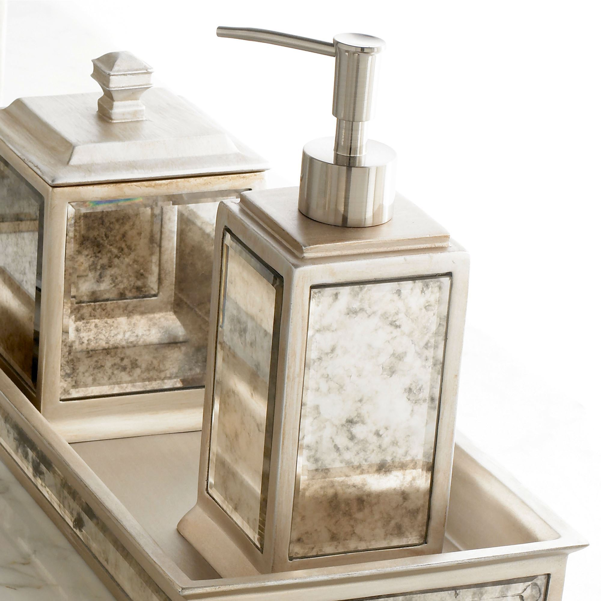 Bathroom Accessories Palazzo Antique Mirrored Bath Accessories