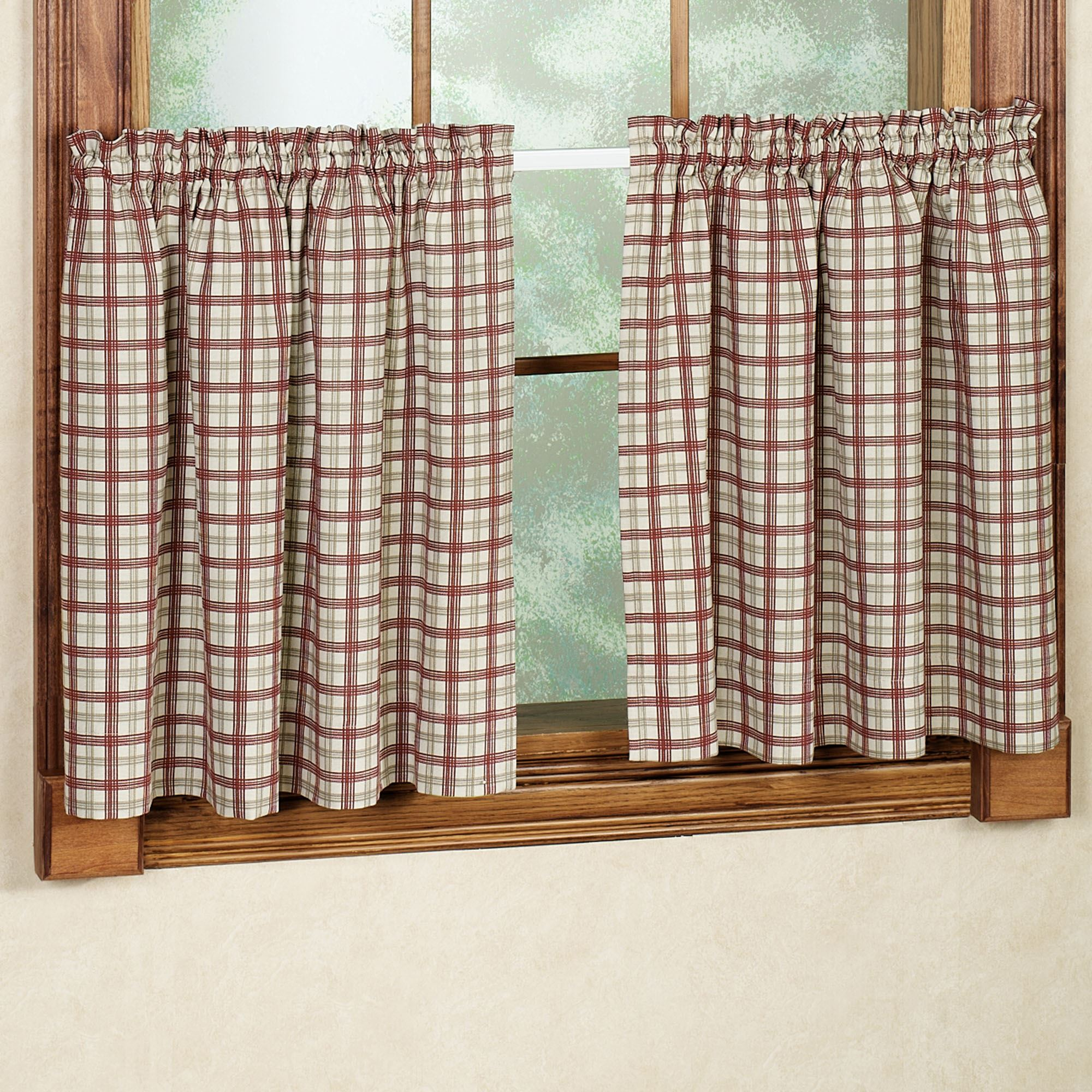 Patterns For Kitchen Curtains And Valances Bristol Plaid Tailored Tier Window Treament