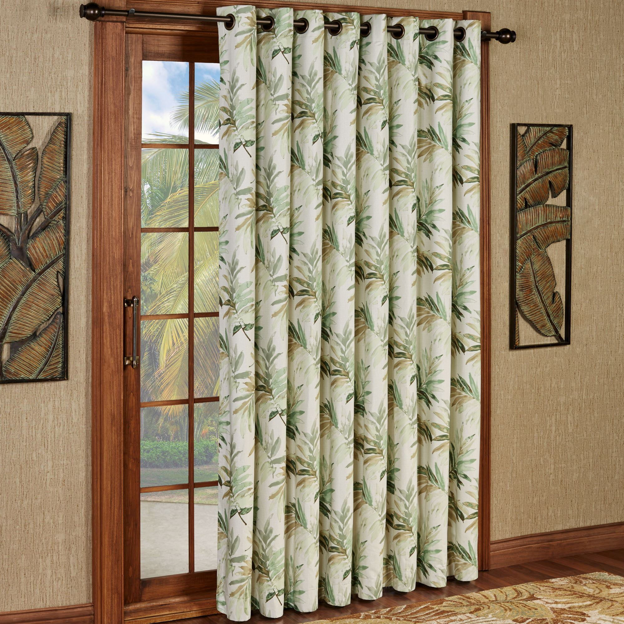 Thermal Patio Door Curtains With Grommets Paradise Leaf Thermal Grommet Patio Panel