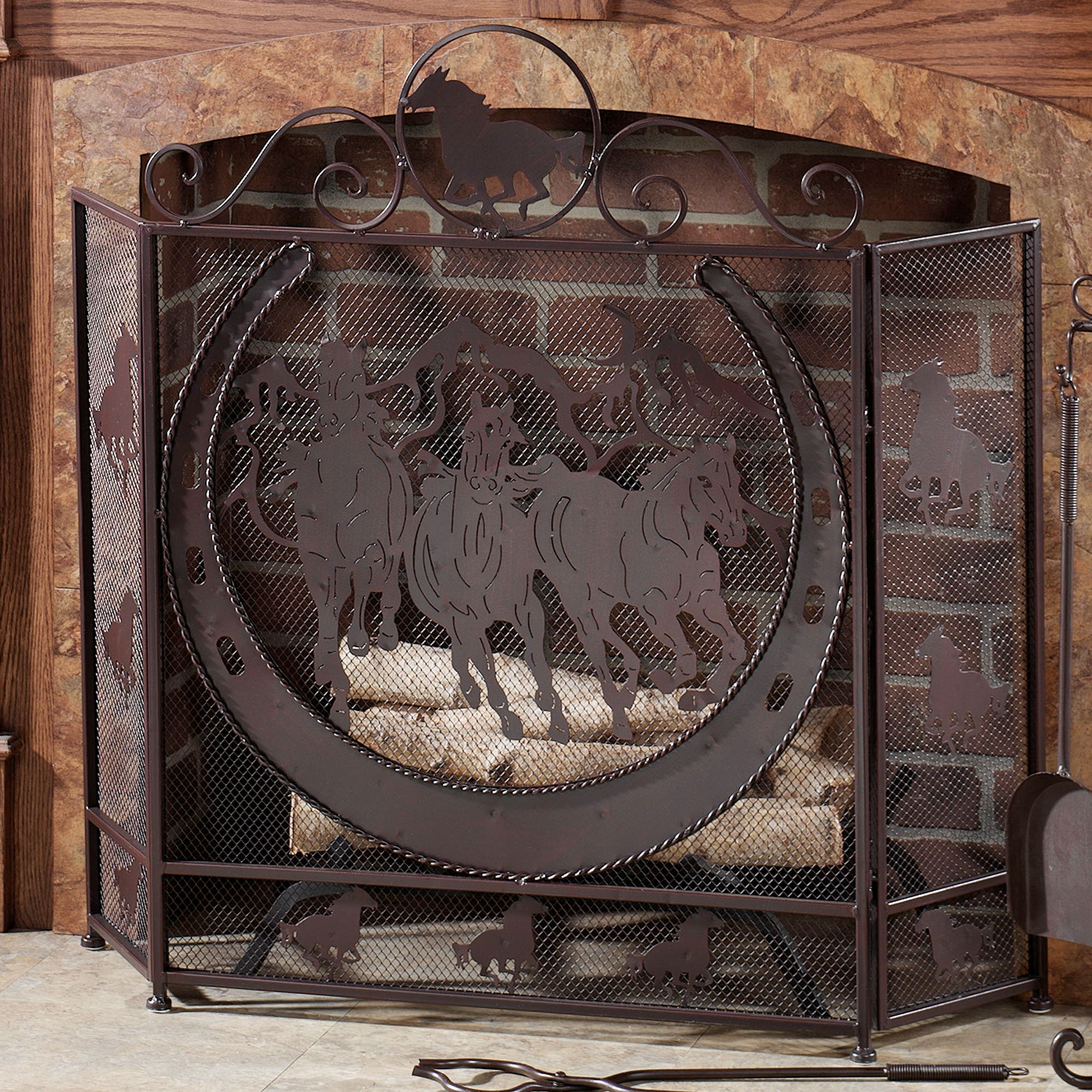 Fireplace Screens Tree Design Thundering Hooves Fireplace Screen