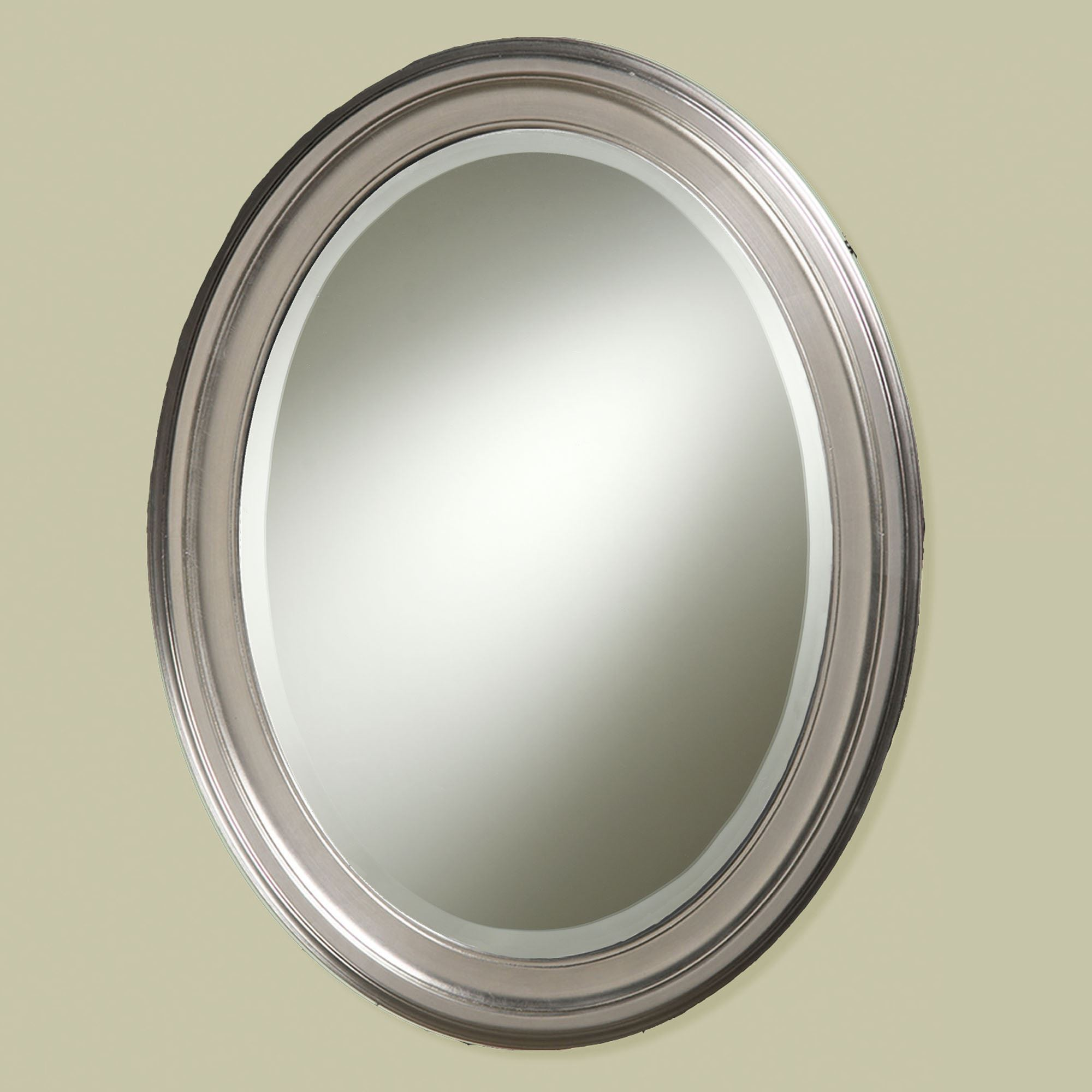 Decorative Brushed Nickel Mirror Loree Brushed Nickel Finish Oval Wall Mirror