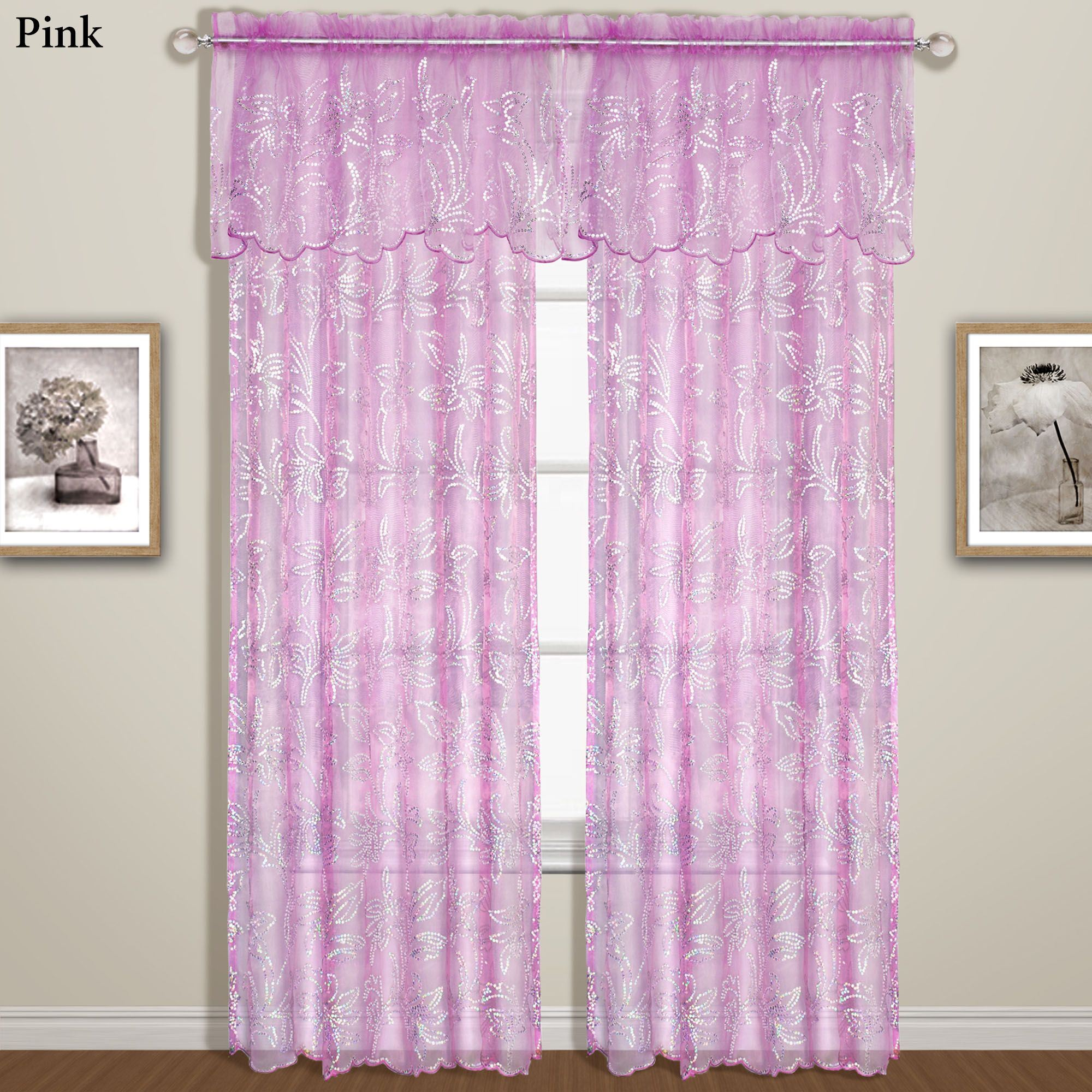 Pink Sequin Curtains Bling Sequined Sheer Window Treatment