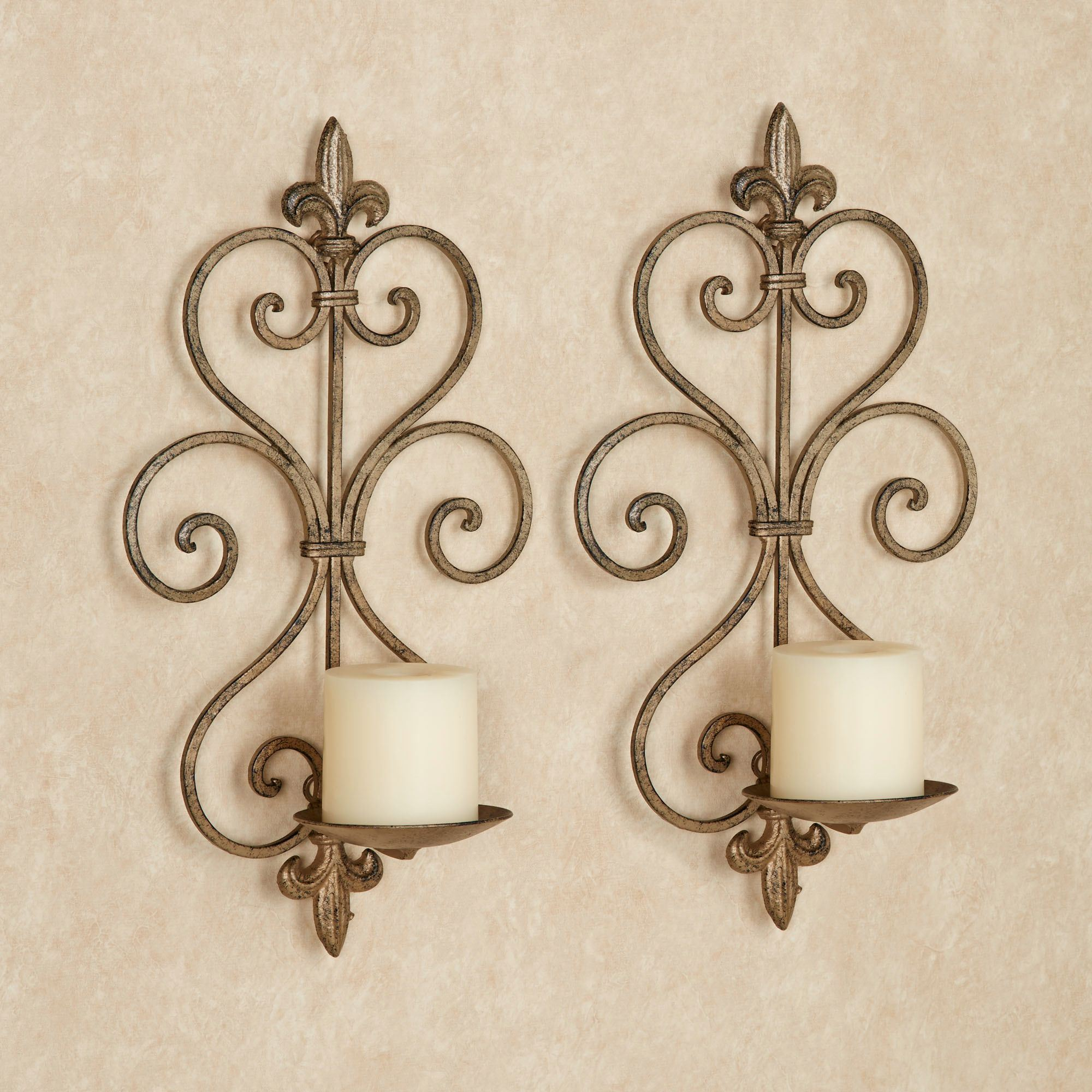 Office Wall Sconces Charles Wrought Iron Wall Sconce Pair