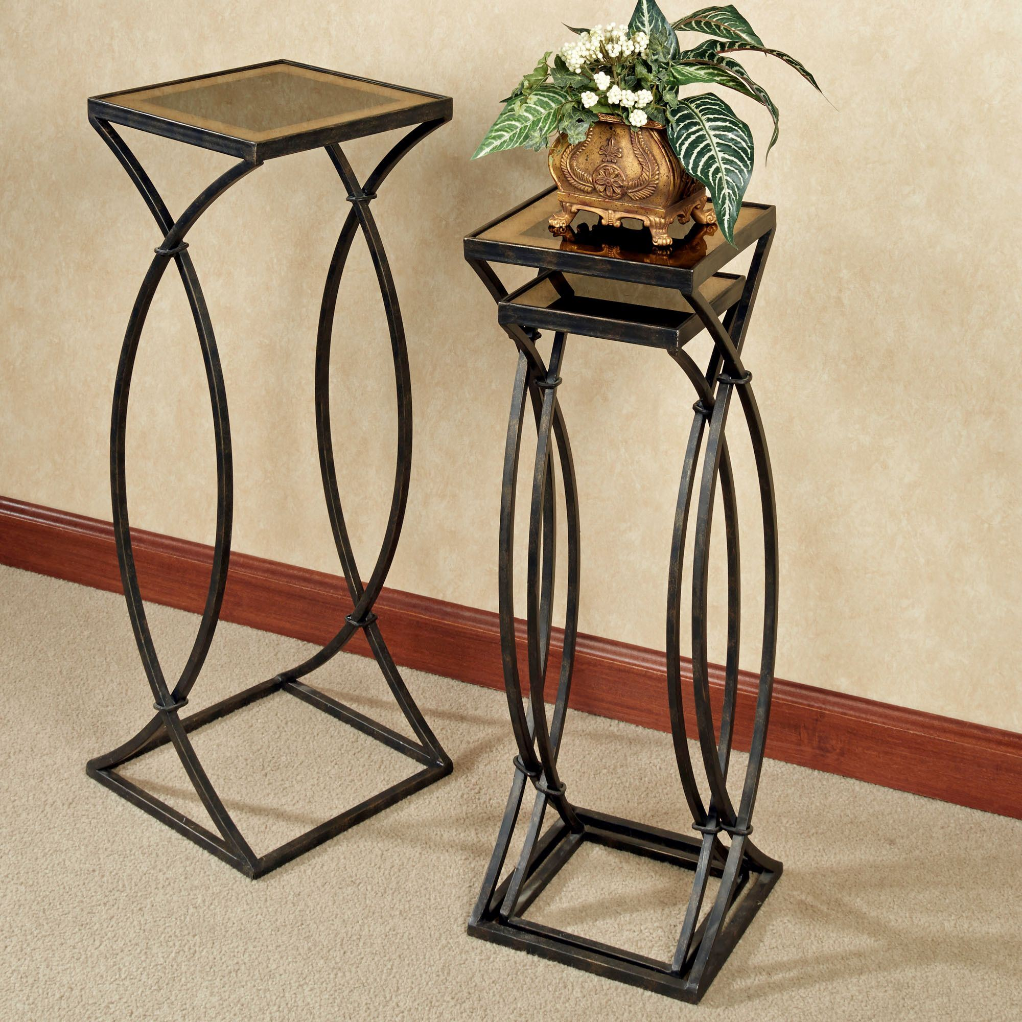 Glass Nesting Tables Regency Glass Top Metal Nesting Table Set