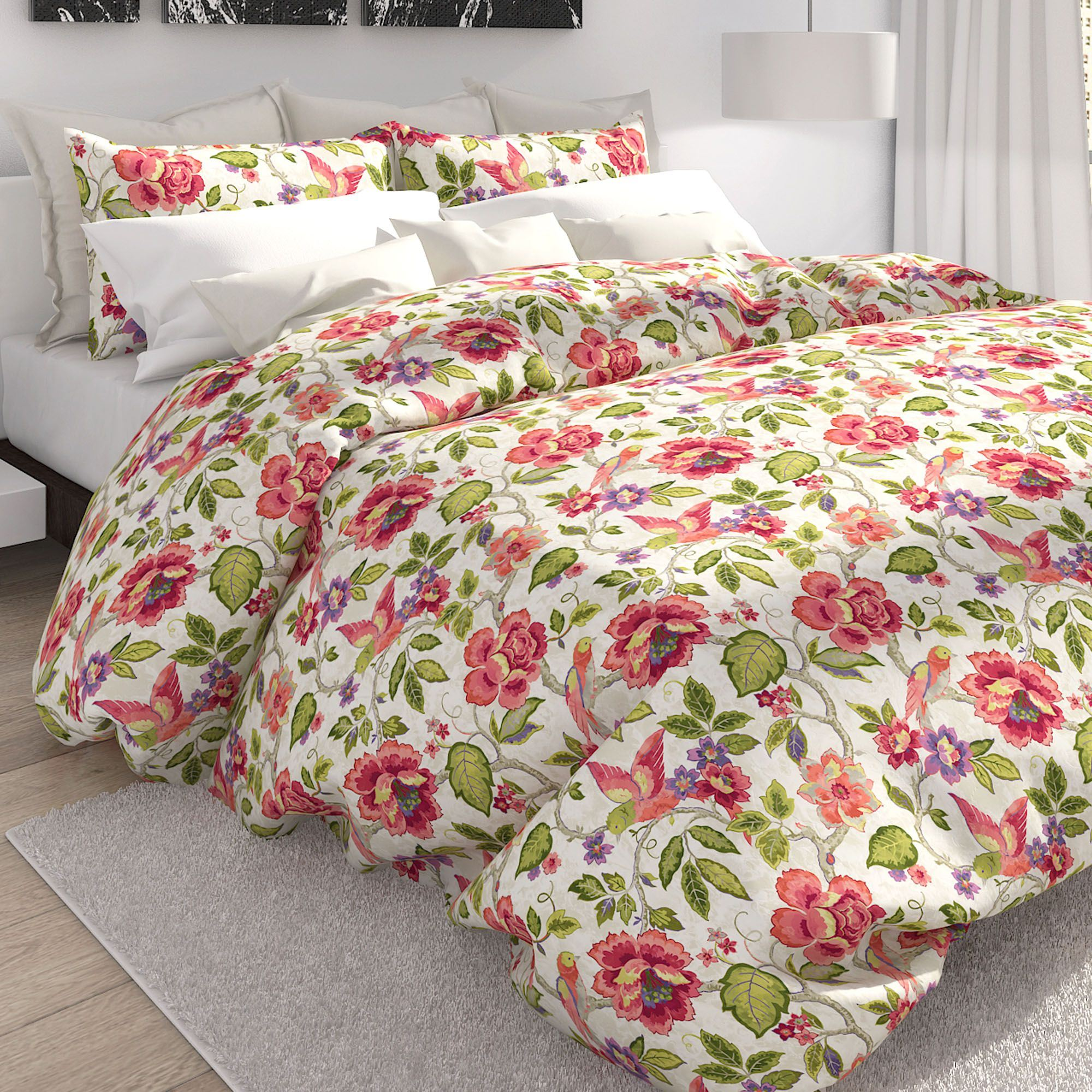 King Duvet Tess Off White Tropical Floral King Duvet Cover Set By Colorfly