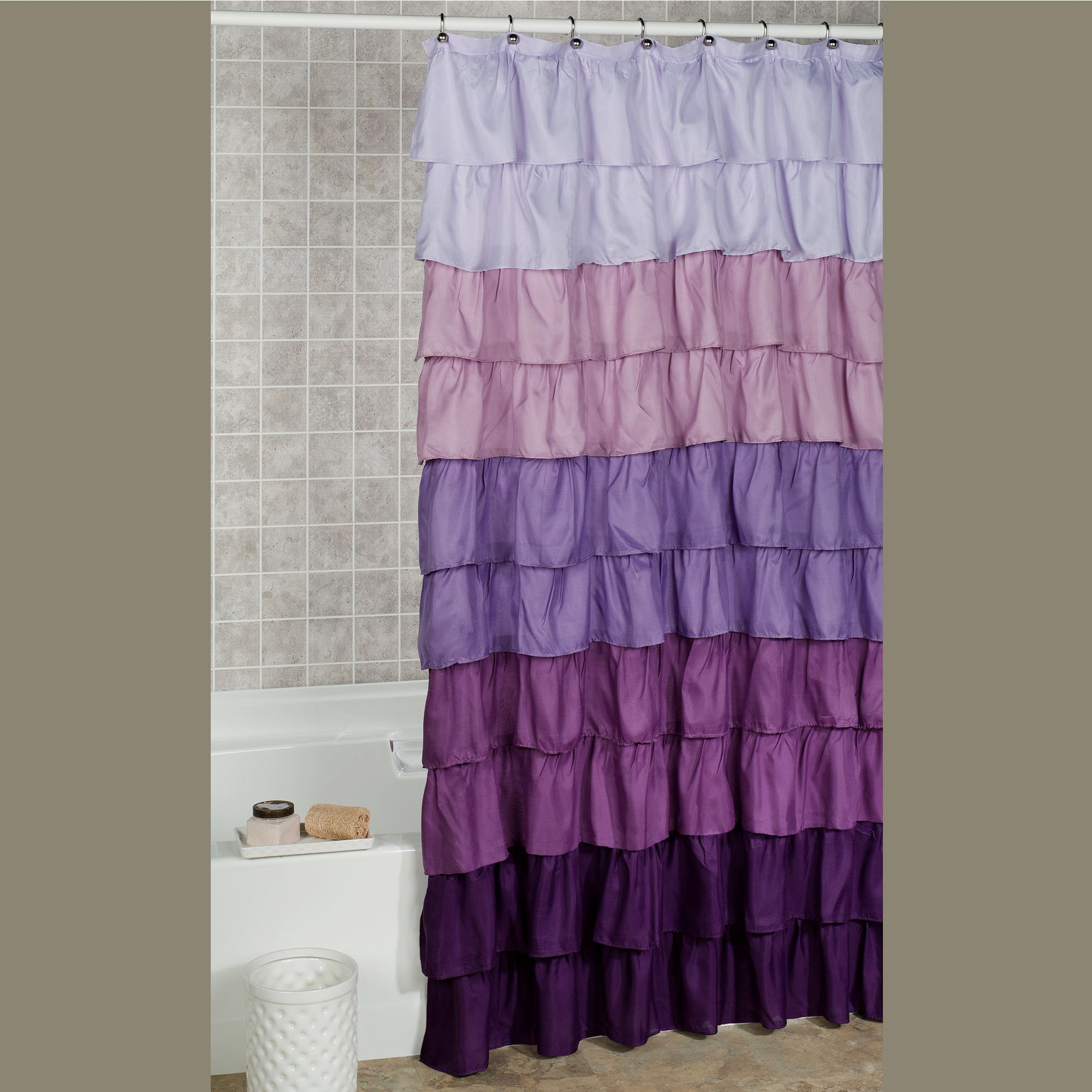 Lavender Shower Curtains Maribella Lavender Ombre Ruffled Shower Curtain
