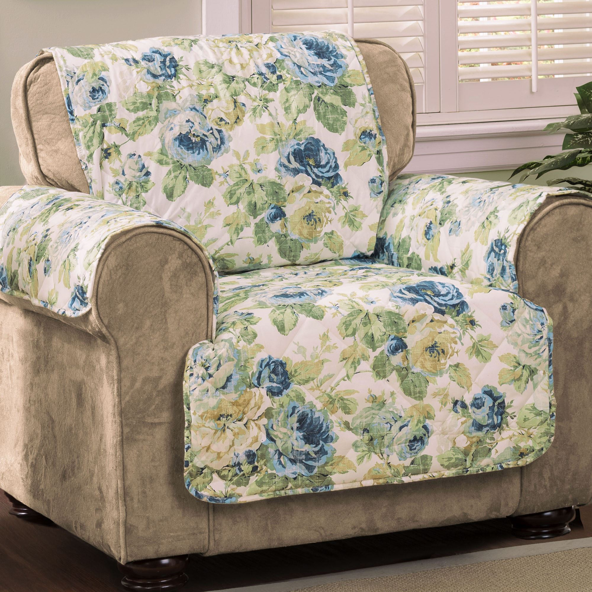 Quilted Lounge Chair Covers English Floral Sky Blue Quilted Furniture Protectors