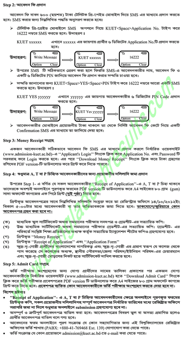 Khulna University of Engineering and Technology (KUET) Admission Test 2012-2013