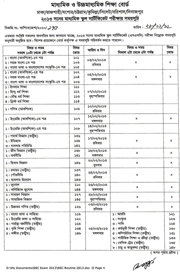 SSC and Dakhil Exam Routine 2013-14|dhakaeducationboard.gov.bd