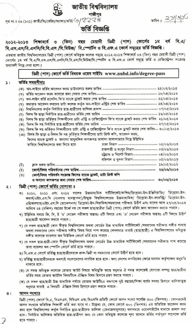National University Degree (Pass) Course Admission 2012-13