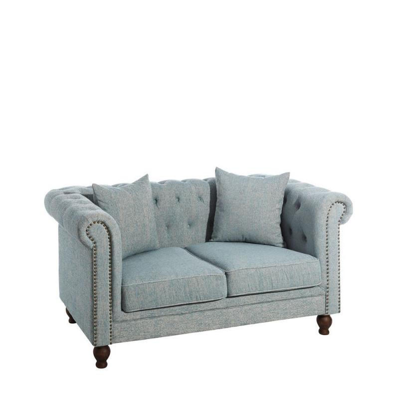 Canape Chesterfield Canapé 2 Places Chesterfield Tissu Bleu Strike - Univers