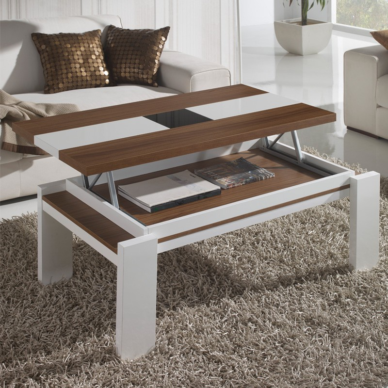 Table De Salon Blanche Et Bois Table Basse Relevable Blanc/noyer Upta - Univers Salon