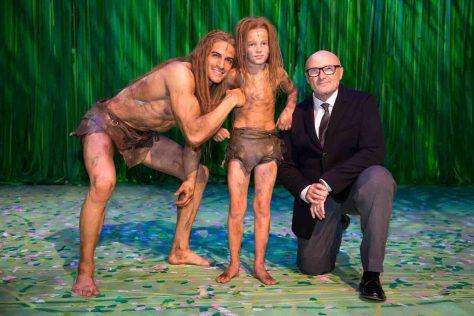 Premiere vom Musical Tarzan im Stage Apollo Theater in Stuttgart am 21.11. 2013 Im Bild v.l.: Gian Marco Schiaretti, Mattis Lernhart und Phil Collins © Disneys Musical TARZAN/ Stage Apollo Theater