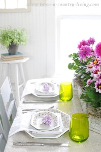 Pink and Green Table Setting - Town & Country Living