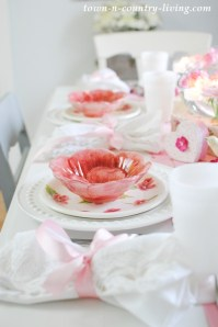 Pink and White Table Setting - Town & Country Living
