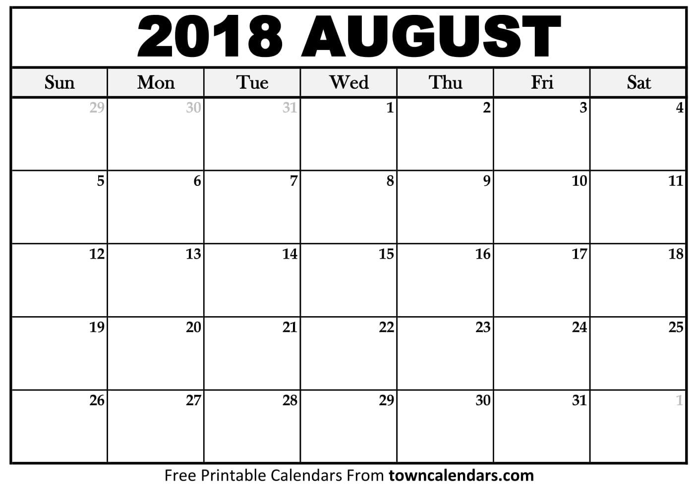 Free 5 August 2018 Calendar Printable Template Source