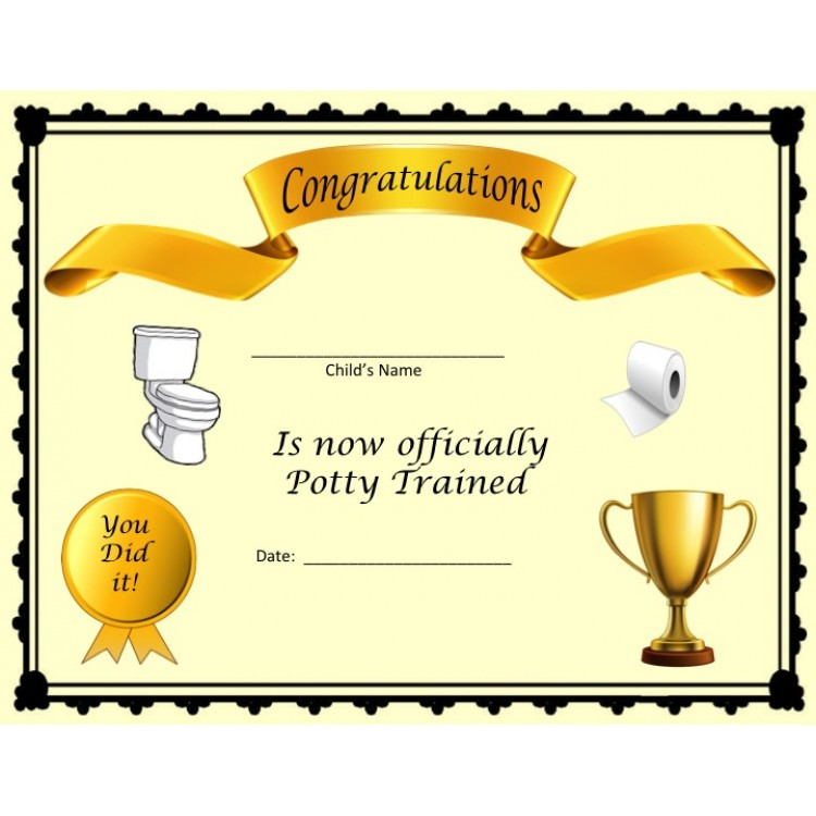 Potty Training Certificate- FREE WITH POTTY CHART