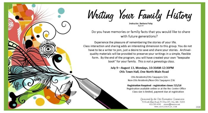Writing your Family History \u2013 registration required \u2013 Town of Otis, MA