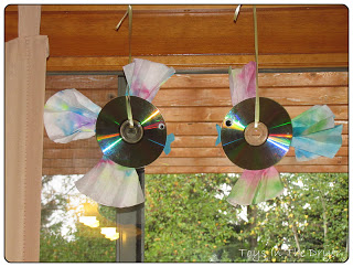 How to make rainbow fish sun catchers using old CDs