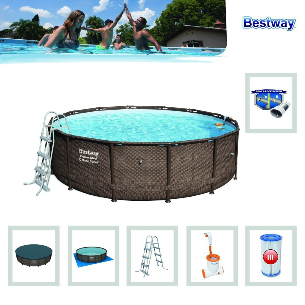 Pool Frame Rund Details Zu Bestway Power Steel Deluxe Series Frame Pool Set Rund 427x107 Cm Rattanoptik