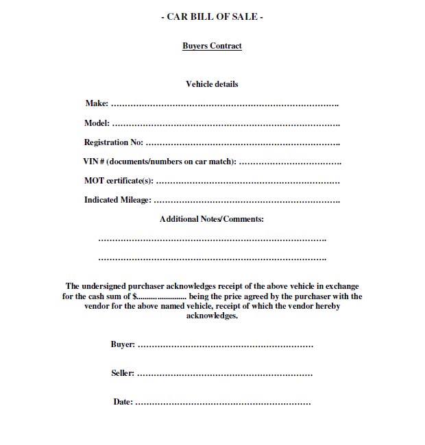 New Jersey Car Bill Of Sale Form | Cover Letter And Resume Samples ...