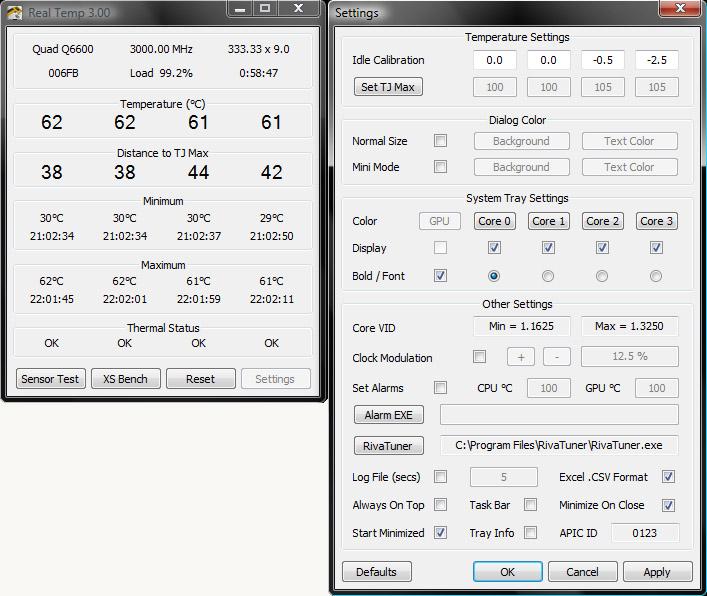 Real Temp - CPU temperature monitoring