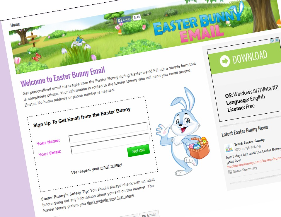 Get personalized email messages from the Easter Bunny - Track Easter - personalized e mail
