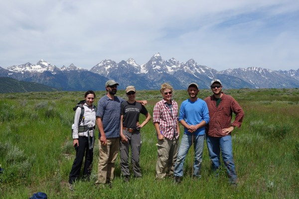 From left to right: Jen Feltner, Mark Elbroch, Michele Peziol, Anna Kusler, Casey McFarland, and Connor O'Malley soaking up the Teton Sun.