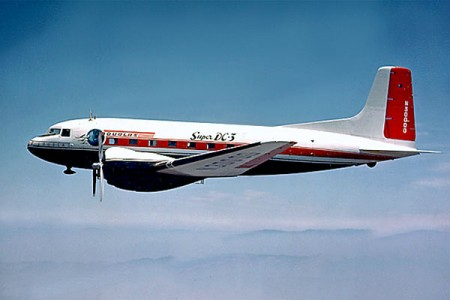 The DC3 before the fatal crash of 1950 on Okanagan Mountain