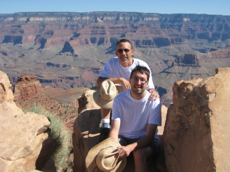 Jeff Walker and his son Tim Walker Near the End of a Rim-to-Rim Grand Canyon Trek