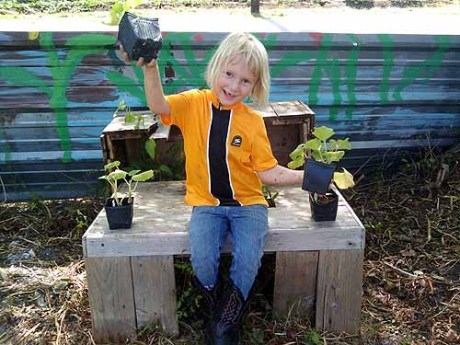 Cidette Rice, 5, Last Organic Outpost volunteer (and rock star)
