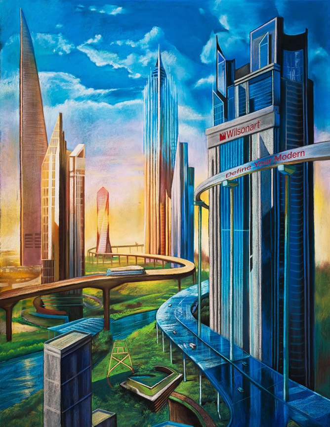 Wallpaper Illusion 3d 3d Chalk Art Future City In Unveiled In Las Vegas