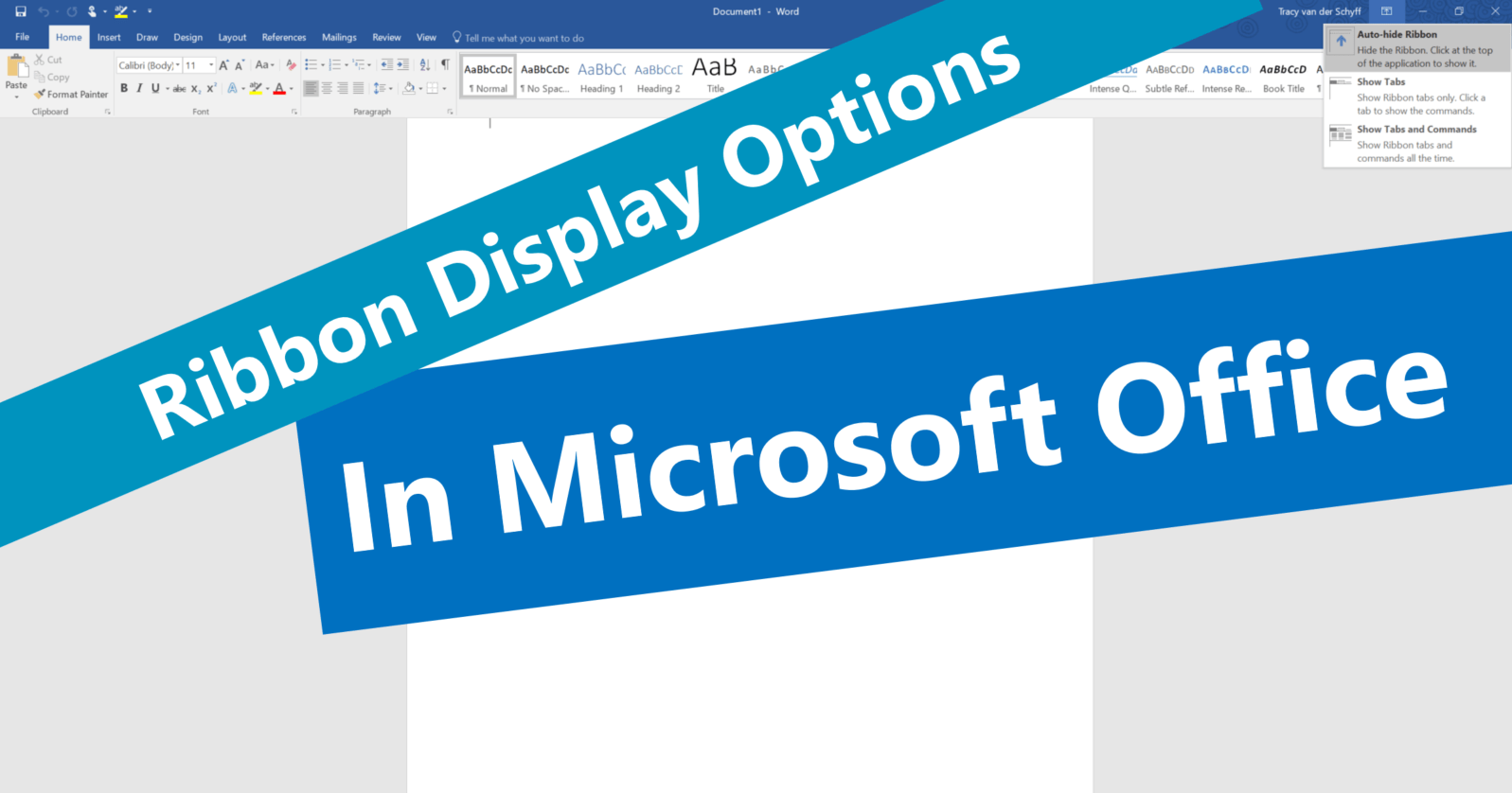 Update My Microsoft Office Microsoft365 Day 75 Ribbon Display Options In Microsoft Office