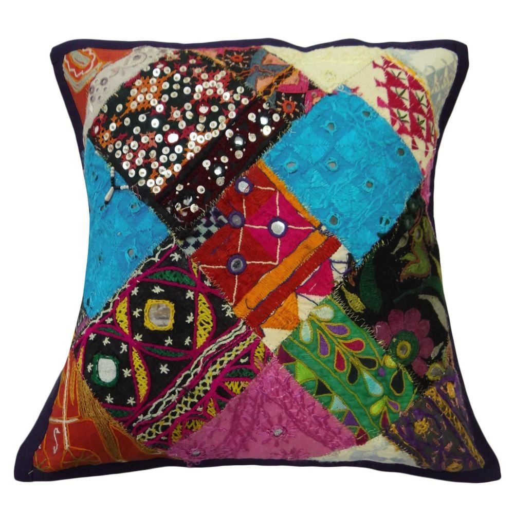 Patchwork Sofa Multicolor Patchwork Sofa Cushion Kutch Embroidered Cushion Cover 16