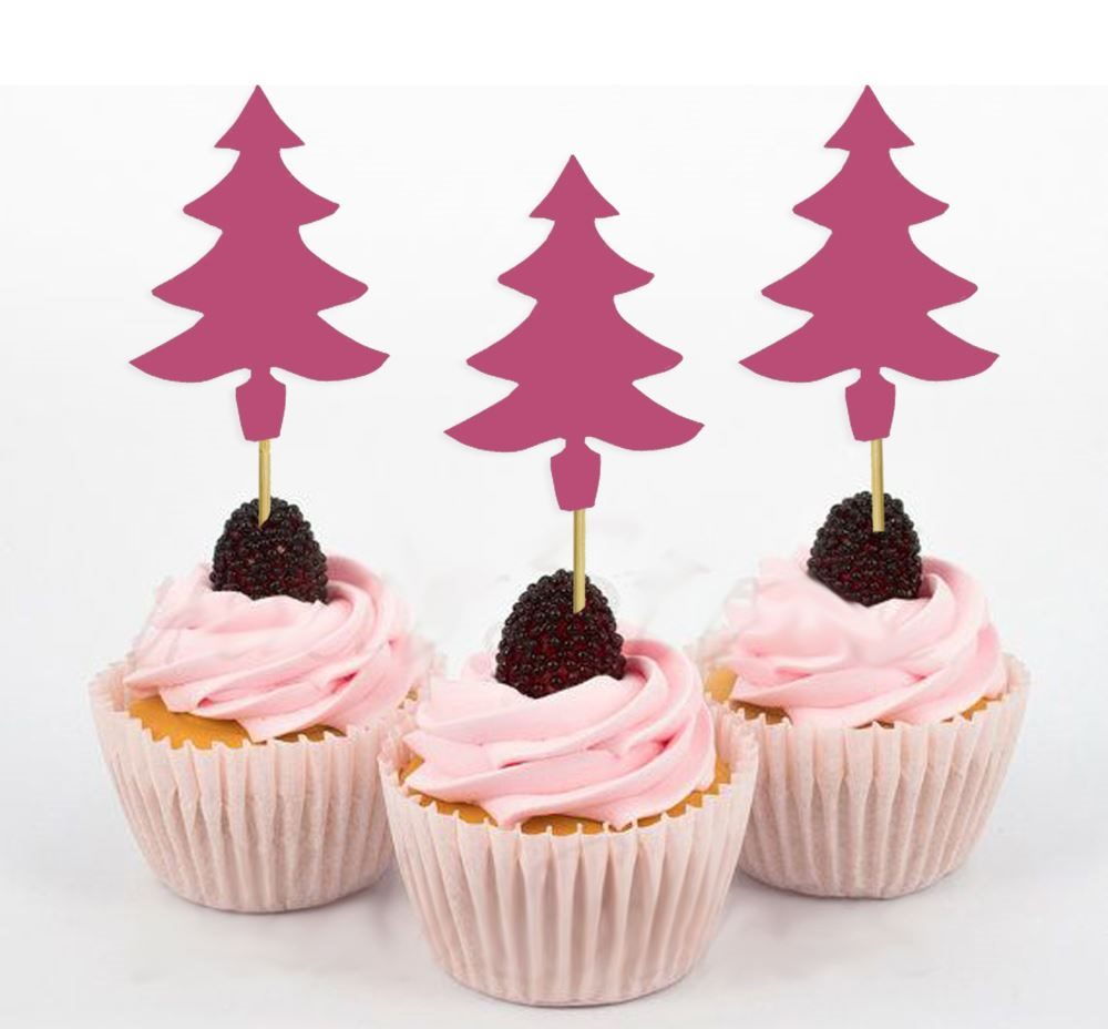 Décoration De Cupcake Darling Souvenir Christmas Tree Dessert Decoration Cupcake Topper Glitter Pink