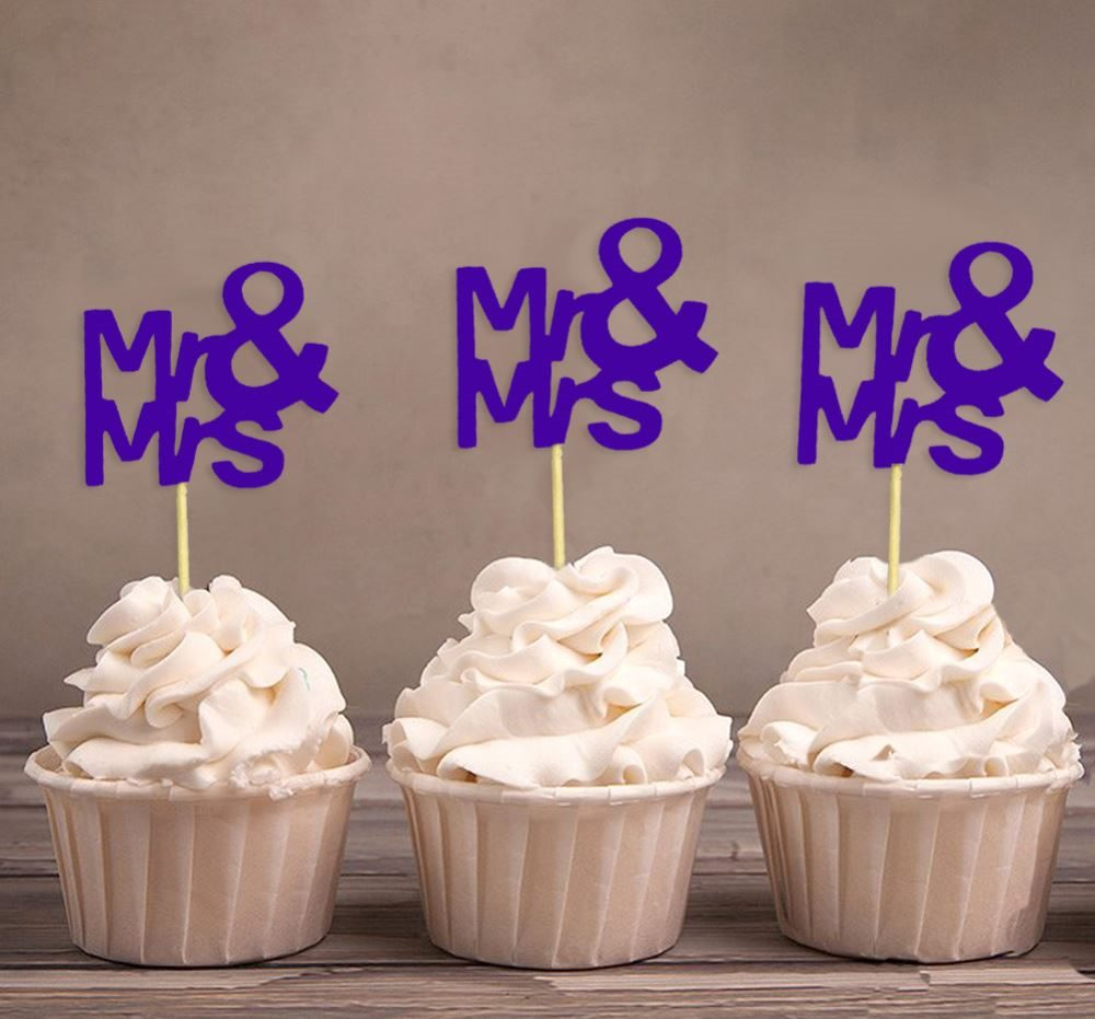 Décoration De Cupcake Darling Souvenir Mr Mrs Wedding Party Dessert Decoration Cupcake Topper Violet