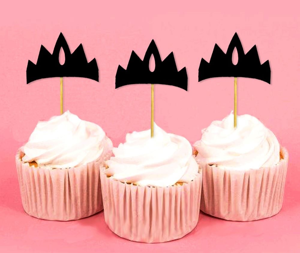 Décoration De Cupcake Tiara Girls Birthday Party Crown Shape Dessert Decoration Cupcake Topper Black