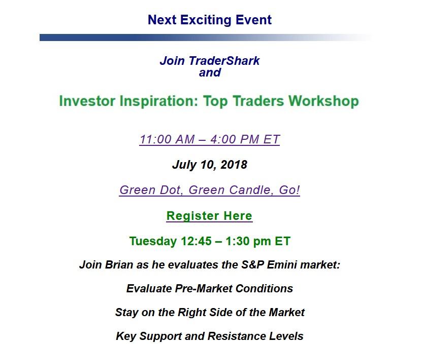 Top Market Traders Webinar \u2013 Investor Inspiration July 10, 2018