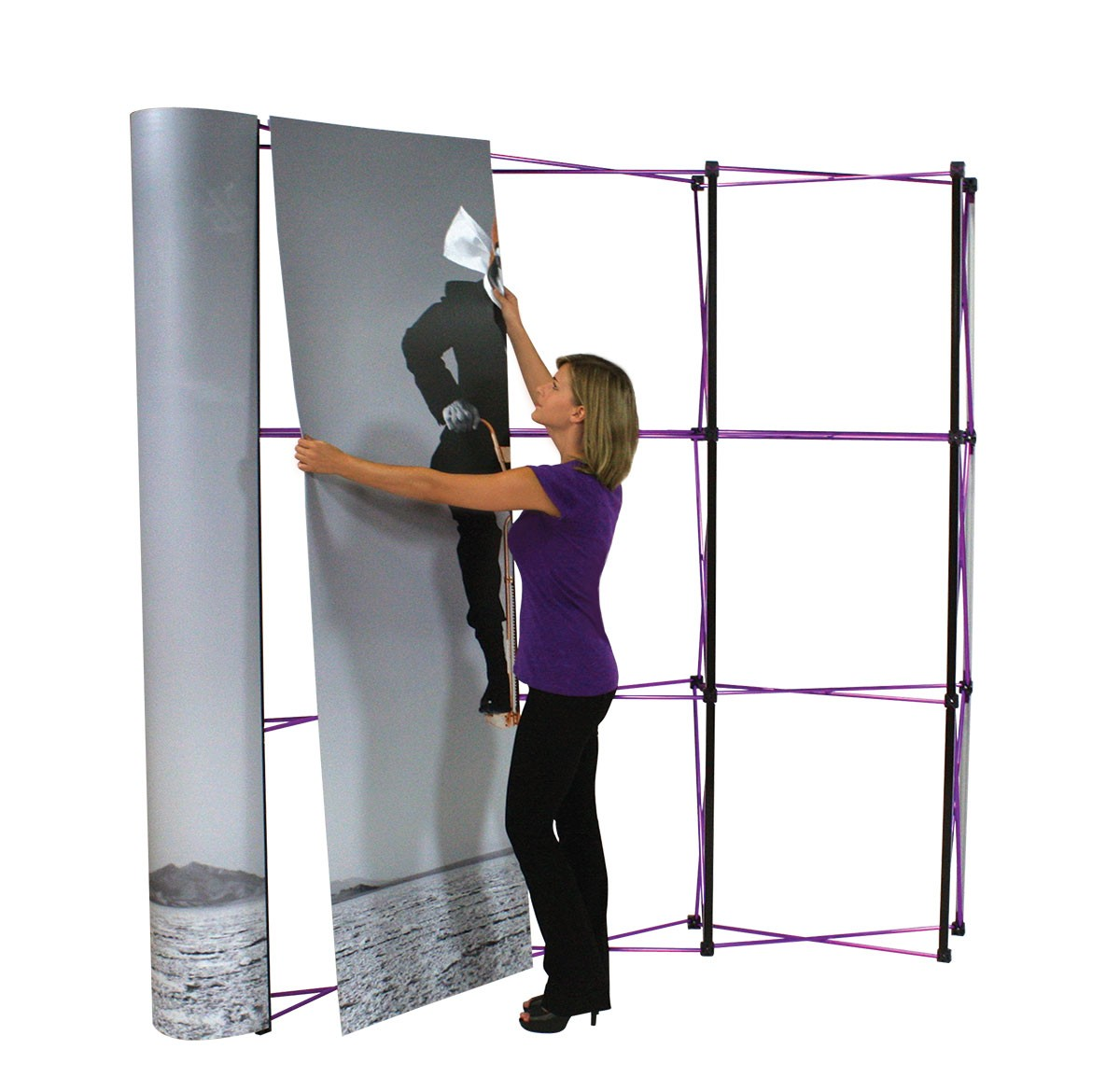 Store Banne 3x3 Coyote 3x3 8 39 Curved Frame Pop Up Tradeshowdisplaypros