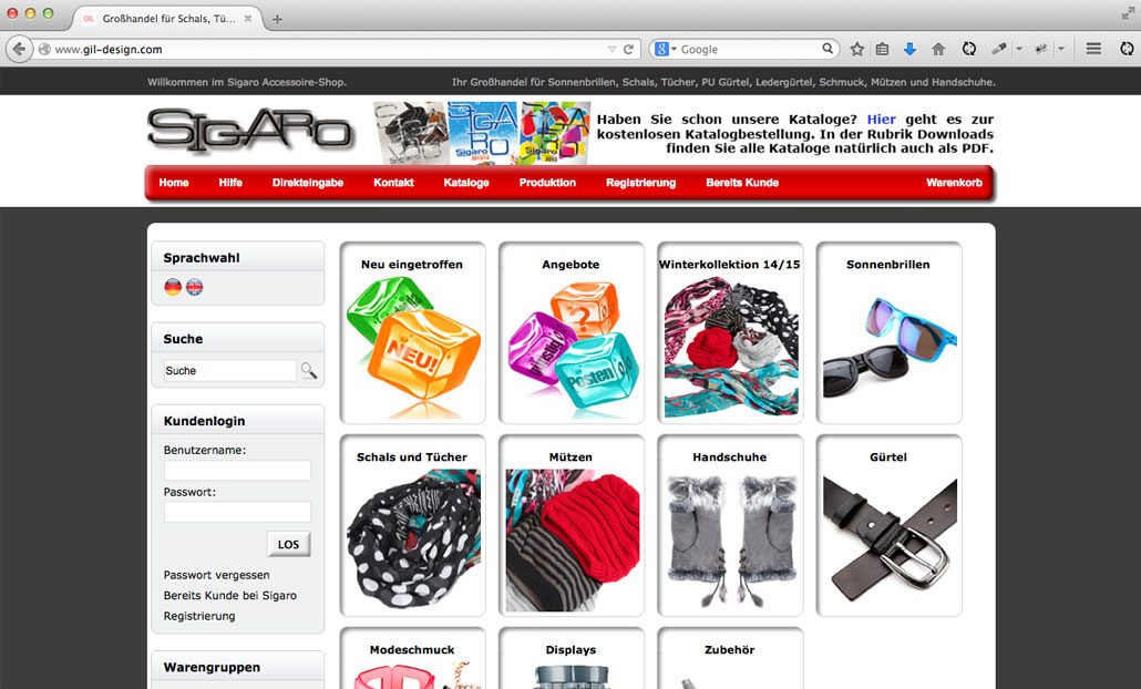 Gil Design Gil Design Sigaro - Tradino Webshop Software - Ecommerce