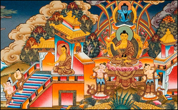 Buddha descending on earth