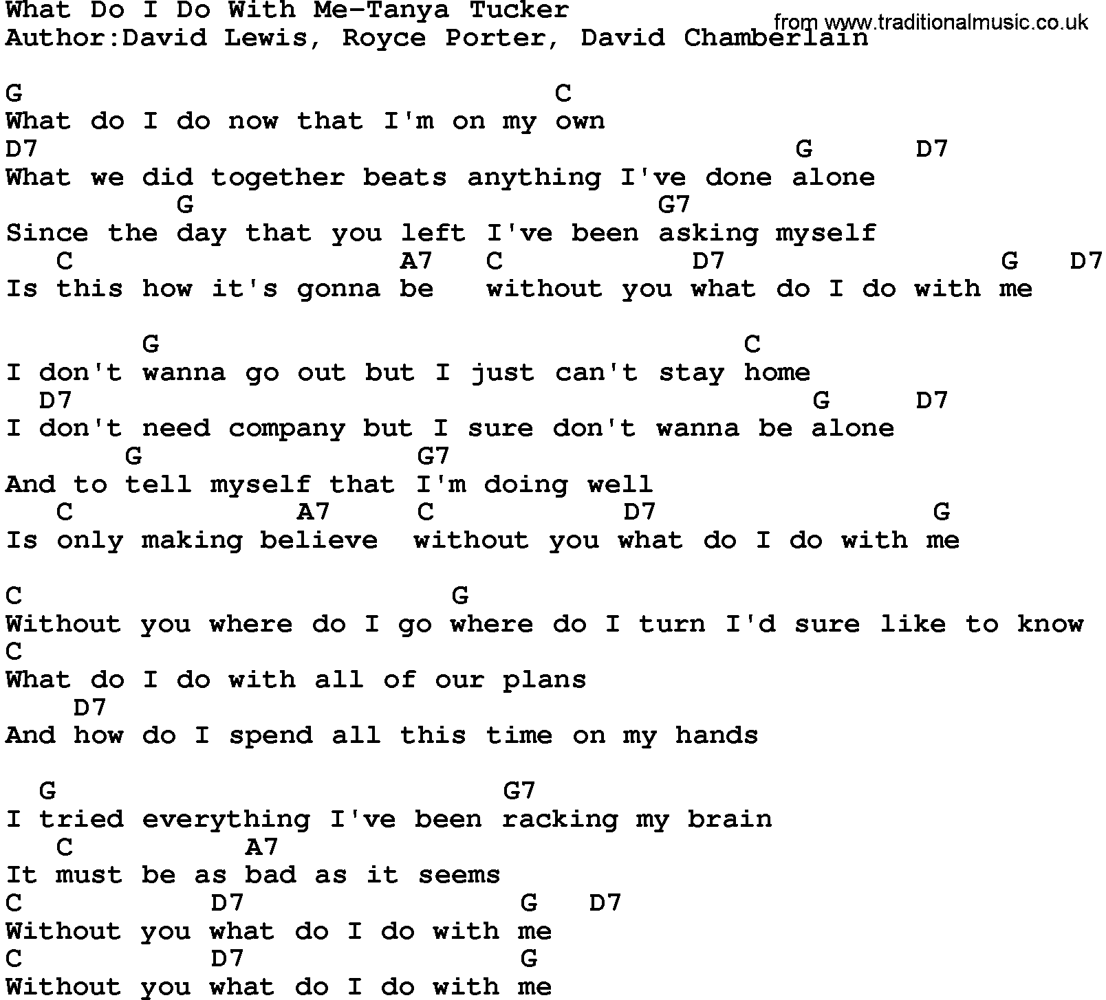 Bad As I Wanna Be Lyrics Country Music What Do I Do With Me Tanya Tucker Lyrics And Chords